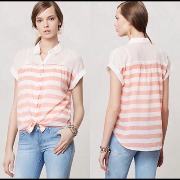 Anthropologie Hei Hei Striped Button Front Shirt L